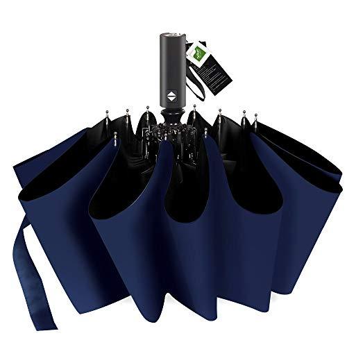 折りたたみ傘 自動開閉 頑丈な12本骨 折り畳み傘 日傘 メンズ 大きい 晴雨兼用 Teflon加工 超撥水 100%遮光 210T高強度グラスファイバー 台風対応 梅雨対策 傘 カバー付き (ブルー)