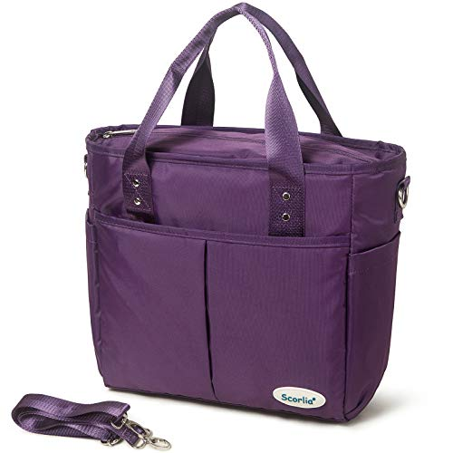 Insulated Lunch Bags for Women Work SCORLIA Extra Large Lunch Tote Bag With Removable Shoulder Strap Durable Reusable Cooler lunch Box with Side Pockets Tall Drinks Holder for Women&Men Purple