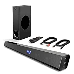 2.1 CHANNEL IMMERSIVE SOUND EXPERIENCE - 120W Sound bar delivers noticeably better sound than your TV alone. With advanced technologies, TV sound bar delivers the clear audio your TV can't. Sound bar with subwoofer produces powerful bass and surround...