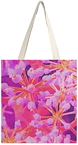 Cool Abstract Retro Nature in Purple and Coral Canvas Tote Bag, Shoulder bags, girls' shopping bags, sundries handbags, book carrying bags