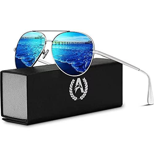 VVA Gafas de sol Hombre Polarizadas Piloto Hombres Piloto Gafas de sol Polarizadas Hombre Unisex Protección UV400 por V101(Azul/Plateado)