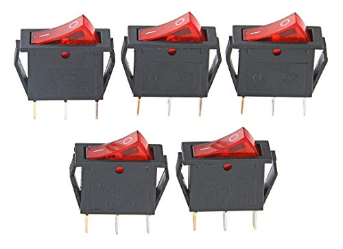 15A 250V/20A 125V 3 Pin AC Rocker Switch KCD3 Switch 5 Pcs