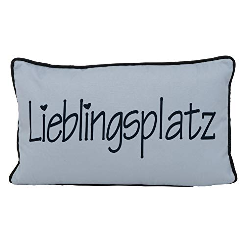 Unbekannt 1x Kissen Lieblingsplatz Breite 50 cm grau, Dekoration, Geschenk, Wunschmodell:hinten