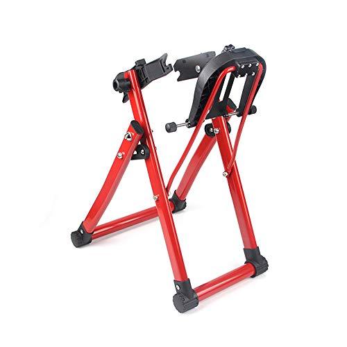 WHCL Soporte de Truco de Ruedas, Herramienta de Mantenimiento Profesional de Bicicletas con Regla y dedal, Stand de Truco de mecánico de Casas Plegables para 16'- 29' 700c Ruedas, Garaje,Rojo