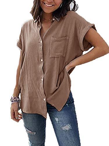 Yidarton Damen Sommer Bluse Elegant Kurzarm V-Ausschnitt Button Down Hemdbluse Shirts Tunika Tops mit Brusttaschen