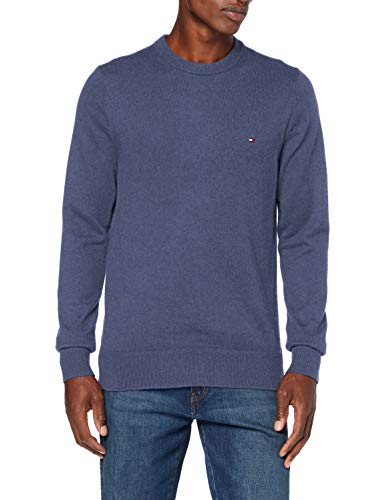 Tommy Hilfiger Herren Pima Cotton Cashmere Crew Neck Pullover, Faded Indigo Heather, XL