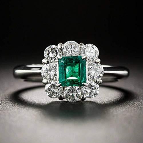 Europese en Amerikaanse dames zirkonia ring creatieve smaragd vintage diamant sieraden, semi-kostbare stenen, retro stijl, dans, klauw set, geometrische, bijwonen Cocktail partij ringen, set met edelstenen, Thum