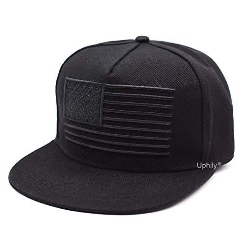 USA Flat Brim Bill Hat, American Flag Baseball Cap, Black High Profile Patriotic Snapback Hat for Men or Women