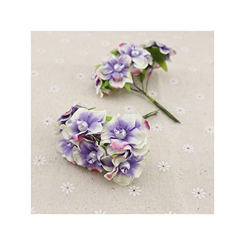 KenFandy 6Pcs Pearl Silk Artificial Flowers Garland Wreaths For Wedding Car Decoration Bouquet Decorative Corsage Fake Flower,Purple