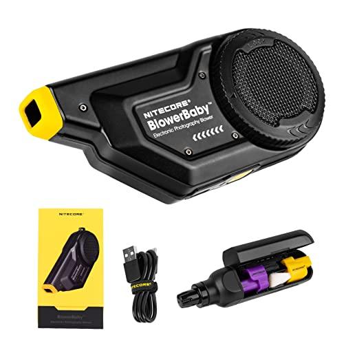Nitecore BlowerBaby soplador de aire de limpieza electrónico para la cámara y el objetivo, velocidad del viento de 70km/h, batería incorporada de 1500mah, con pluma de limpieza de la cámara y cepillos
