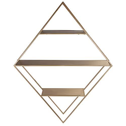 LaLe Living eckiges Wandregal - Elmas - aus Eisen in Gold mit 3 Regalböden zur Wandbesfestigung, Maße Regal 76 x 65 cm