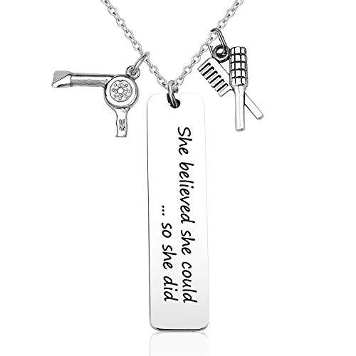 EIGSO Hairdresser Gardener Tailor Accountant Bartender Book Lover Gift Keychain Bracelet She Believed She Could Appreciation Gift
