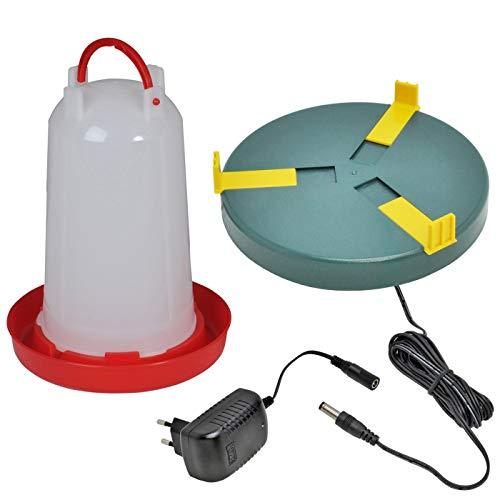 VOSS.eisfrei Set Geflügeltränkenheizplatte + 3 Liter Geflügeltränke mit Bajonettverschluss, Kükenaufzucht Tränkenwärmer, Heizplatte, Wärmeplatte