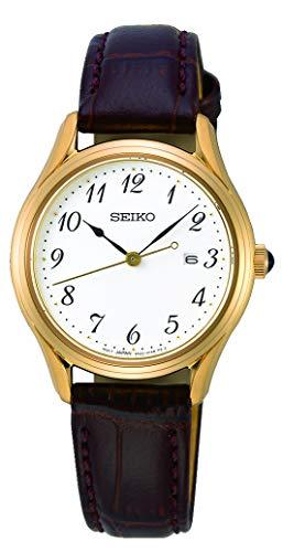 Seiko Quarz Damen-Uhr Edelstahl mit Lederband SUR638P1