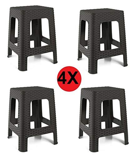 4X Taburete plástico Estilo Rattan Marron Asiento Cuadrado cómodo jardín Patio Banco