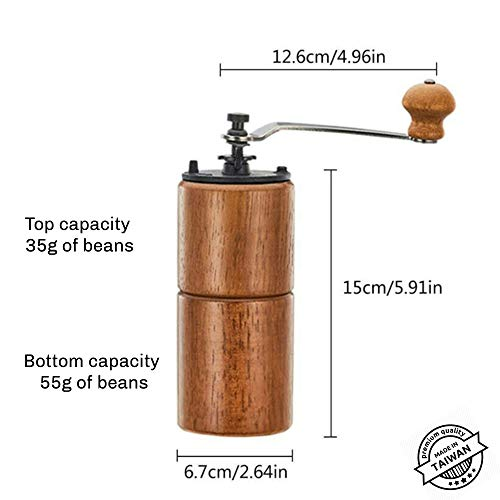 Akirakoki Manual Coffee Bean Grinder Wooden Mill with Cast Iron Burr, Large Capacity Hand Crank, Portable Travel Camping Adjustable (Brown wood)