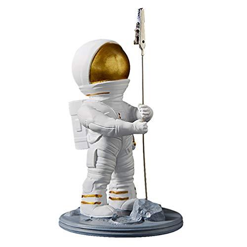 Cabilock Tischkartenhalter Gold Astronaut Figur Tischnummernhalter Fotoständer Clip Memohalter Dekofigur Skulptur Zettelhalter für Restaurant Schreibtisch Büro Wohnzimmer Tischdeko Silvester Deko