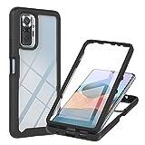 CHENSHU Funda para Xiaomi Redmi Note 10 Pro 4G / Note 10 Pro MAX, Carcasa Transparente 360 Grados Protección con Protector de Pantalla Integrado Antichoque Anti-rasguños TPU Bumper Case Cover, Negro