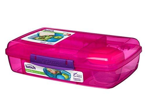 Sistema 5-voudig onderverdeelde XL lunchbox Bento Box - 1760 ml lunchdoos inclusief beker met schroefsluiting 28 x 17,5 x 8 cm (B x D x H)