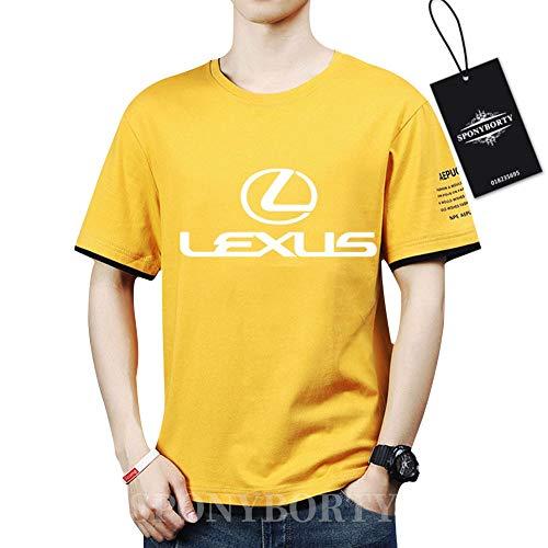 SPONYBORTY Hombres Undergo Confortable Algodón Le.X-Us.s Corto Manga Redondo Cuello Camisetas Y/yellow/M