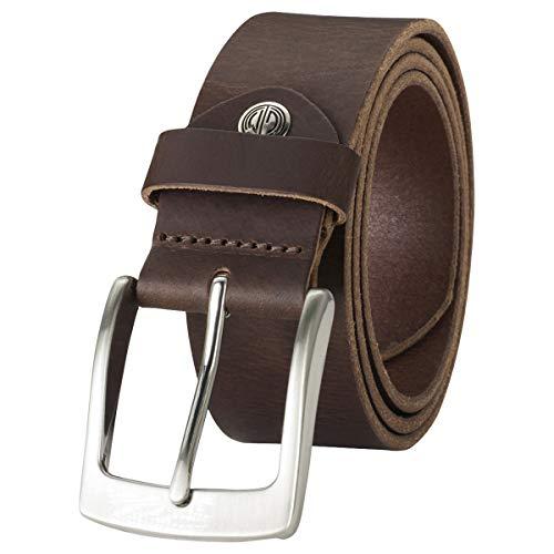 LINDENMANN Ledergürtel Herren/Gürtel Herren, Jeans-Gürtel aus Vollrind Leder, Büffelleder 4 mm, dunkelbraun, Größe/Size:95, Farbe/Color:braun