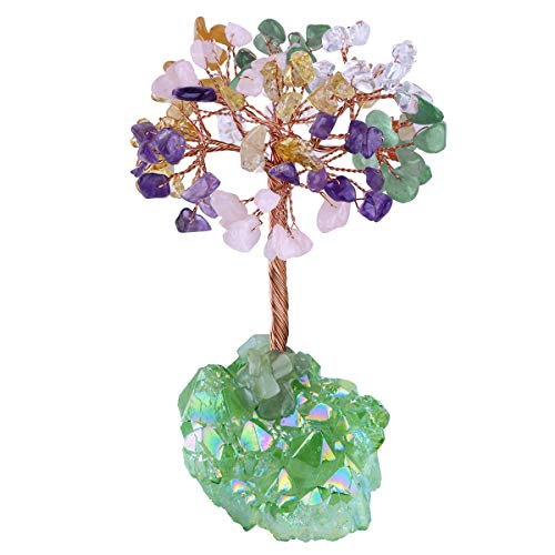 mookaitedecor Colorful Crystal Tree, Quartz Cluster Green Titanium Crystals Base Bonsai Money Tree for Wealth and Luck