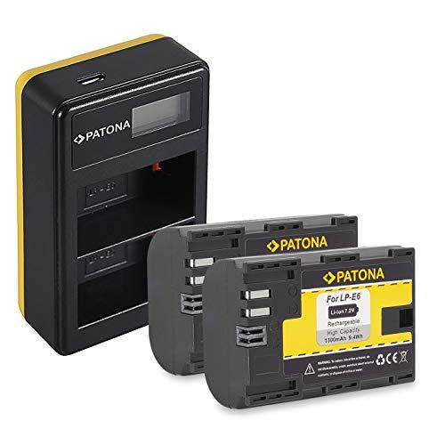 PATONA Cargador Doble LCD USB con 2X LP-E6 Batería Compatible con Canon EOS R, 5D Mark II III IV, XC15, 70D, 80D, 90D