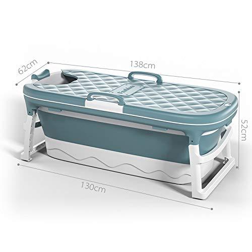YSYW Badewanne Erwachsene Faltbare Kunststoff-Badewanne Verdickter Bad Eimer Faltbare Badewanne Babyschwimmbad Isolierung Ergonomisches Design,Blue-138 * 62 * 52cm