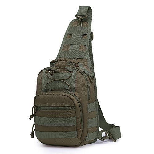 Wind Took Schultertasche Taktische Tasche MOLLE Tactical Sling Bag Multipurpose Daypack Crossbody Brusttasche Crossbag für Sport Wandern Reisen
