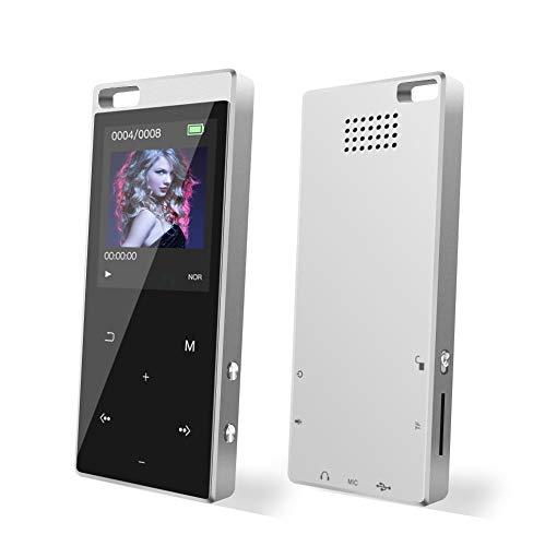 Reproductor de MP3, 8 GB, reproductor MP3, Bluetooth 4.2, con altavoz y radio FM, grabadora de voz para deportes, reproductor de música TFT, memoria ampliable hasta 128 GB.
