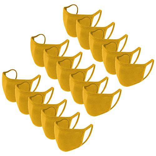 BOIYI 15 Unidades De__Reutilizable Lavable Antipolvo con Slid Color, Las_Mascarillas_ para Adultos Adecuadas para Cenas Al Aire Libre(Amarillo,15PC)