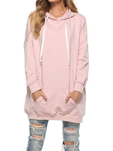 Famulily Womens Oversized Hoodie Extra Long Tunic Hooded Sweatshirt with Pockets Pink Large