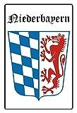 Blechschild 20x30cm gewölbt Wappen Flagge Niederbayern Deko Geschenk Schild