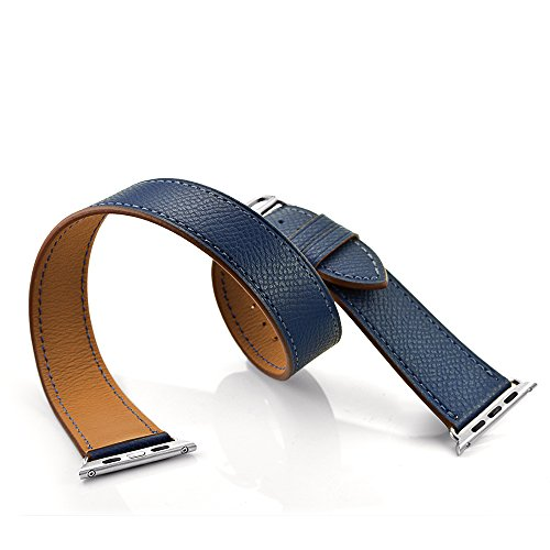 Elobeth for Apple Watch Band,iWatch Bands Genuine Leather Double Tour Watch Strap Replacement WristBand with Classic Metal Clasp Buckle for Apple Watch Sport Edition 38mm Dark Blue
