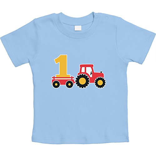 1 Jahr Geburtstag Junge Geschenk Traktor Bagger Unisex Baby Thirt 12-18 Monate Hellblau