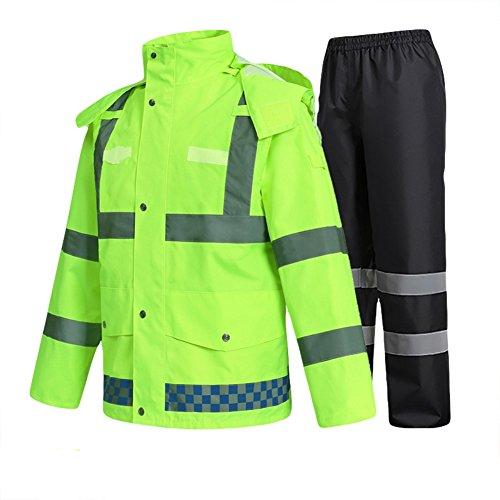 SK Studio Hohe Sichtbarkeit Erwachsenen Regenjacke Arbeit Regenanzug Wasserdicht Atmungsaktiv Reflektierend Sicherheitsjacke Warnschutz Regenbekleidung Neongrün 1 M