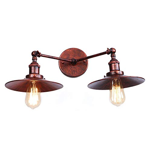 La lámpara del aplique Loft ajustable de la vendimia, creativo dobles Jefes de pared de luz, Comedor Restaurante Pasillo Pasillo Pub pared del café de la linterna, Bar lámpara de pared E27 110V / 240V