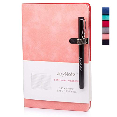 JoyNote A5 Classic Notebook with Pen Holder, College Ruled Harcdcover Notebooks Journal, Thick Paper Pink Notebook, 96 Sheets/192 Pages, 5.75 x 8.25 inches
