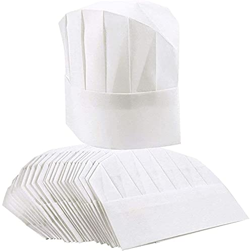 24 Pack Paper Chef Hatsfor Kids and Adults, Kitchen Toque Caps (White, 20-22 in)