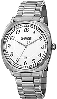 August Steiner Men's Cushion Case Dress Watch - Monochrome White Dial with Classic Font Big Number Hour Markers + Bonus Da...