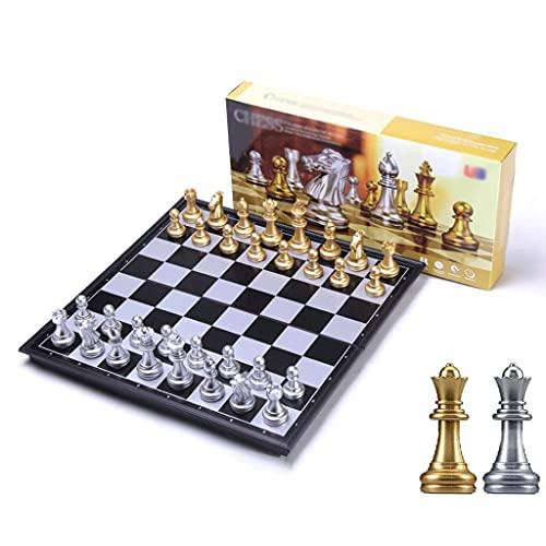 Juego de ajedrez para Entrenamiento, Tablero magnético Plegable de 10'X10, portátil, Necesario para Viajar, Adultos, novicios, niños (Dorado) (Color : Yes, tamaño : Black+Gold)