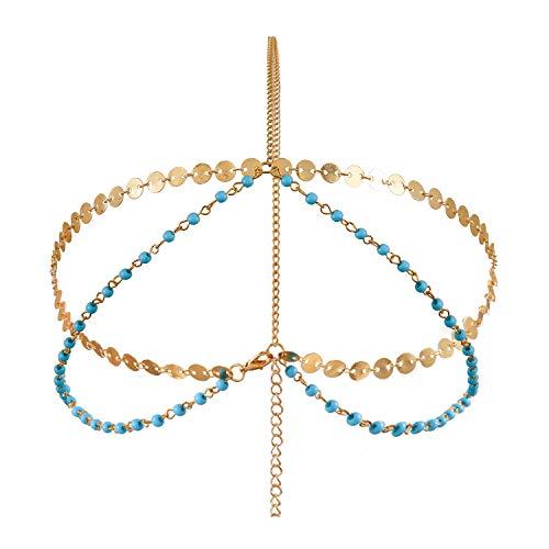 Metme Damen Flapper Stirnbänder Haarschmuck Hochzeit Braut Accessoires Bohemian Boho Gold Headpiece
