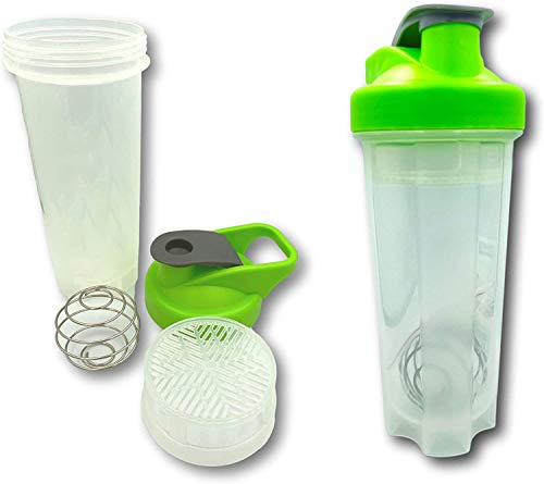 DFL Set Of 2 Sports Shaker Bottles 700ml With Air-Tight - Snap-Lock Closure, Bottle Mixer Ball Blender Whisk - Ideal for Protein Shakes, Smoothies and More - BPA Free