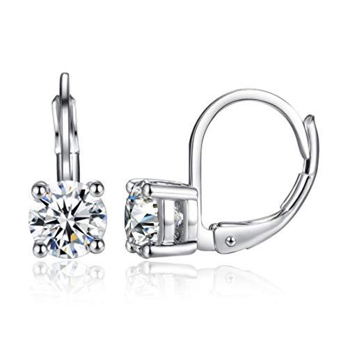 Pendiente Personalidad Pendientes de cuatro puntas Cristal Redondo Circón Clip de oreja Personalidad Pendientes coloridos brillantes con diamantes -A