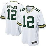 xjpgkd Aaron Maillot de Rugby américain Bay Sports Vert #12 Packers Game Jersey Wettkampftraining Sportbekleidung – Blanc-Small