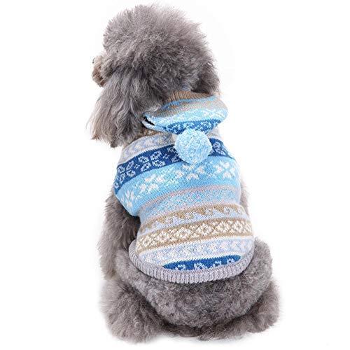 huisdier kat hond trui warme huisdieren kat hond puppy kerst sneeuwvlok gebreide trui warme hond jumpers kat kleding, L, Blauw