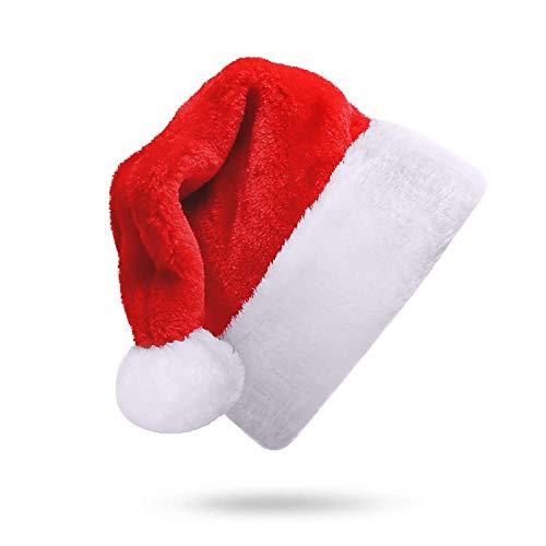 AivaToba Weihnachtsmütze Nikolausmütze, Rot Weihnachten Hüte für Erwachsene und Kinder Plüsch Rand Weihnachtsmützen Weihnachtsfeier Santa Mütze Nikolaus Dicker für Frauen & Männer