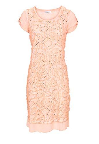 Linea Tesini Exklusives Kleid Modern Deluxe Designer-Patchkleid m. Pailletten, apricot