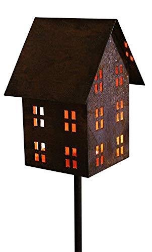 Bornhöft Edelrost Vogelhaus Gartenlicht Kerzenhalter Gartenstecker rostiges Lichthaus am Stab Windlicht Gartendeko 148cm incl Stab (auf Stab)
