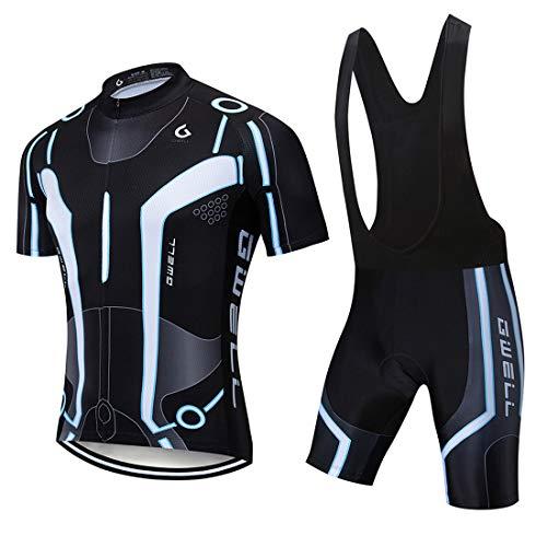 GWELL Herren Radtrikot Atmungsaktive Fahrradbekleidung Set Trikot Kurzarm + Radhose mit Sitzpolster für Radsport Schwarz (Set mit schwarzer Trägerhose) M